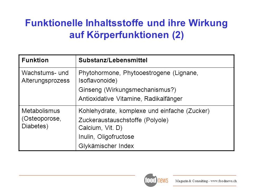 Funktionelle Inhaltsstoffe und ihre Wirkung auf Körperfunktionen (2)