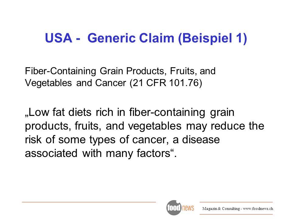 USA - Generic Claim (Beispiel 1)