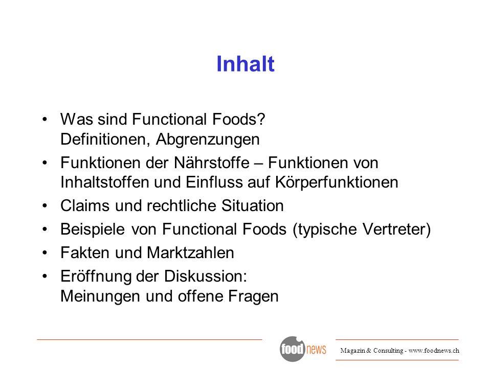 Inhalt Was sind Functional Foods Definitionen, Abgrenzungen
