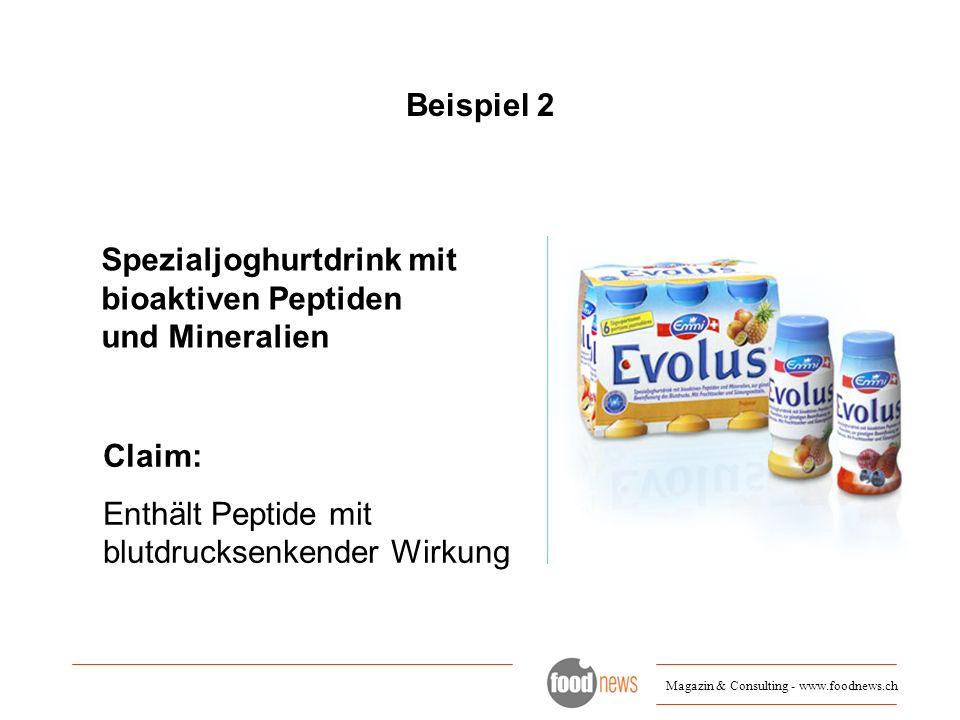 Beispiel 2 Spezialjoghurtdrink mit bioaktiven Peptiden und Mineralien.