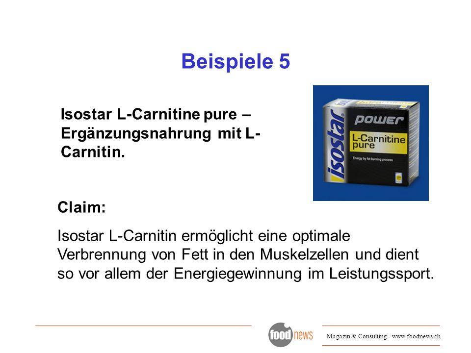 Beispiele 5 Isostar L-Carnitine pure – Ergänzungsnahrung mit L-Carnitin. Claim: