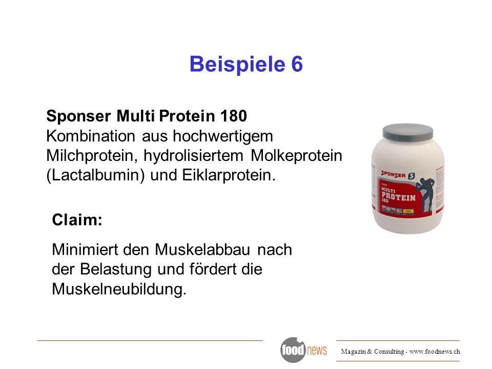 Beispiele 6 Sponser Multi Protein 180 Kombination aus hochwertigem Milchprotein, hydrolisiertem Molkeprotein (Lactalbumin) und Eiklarprotein.