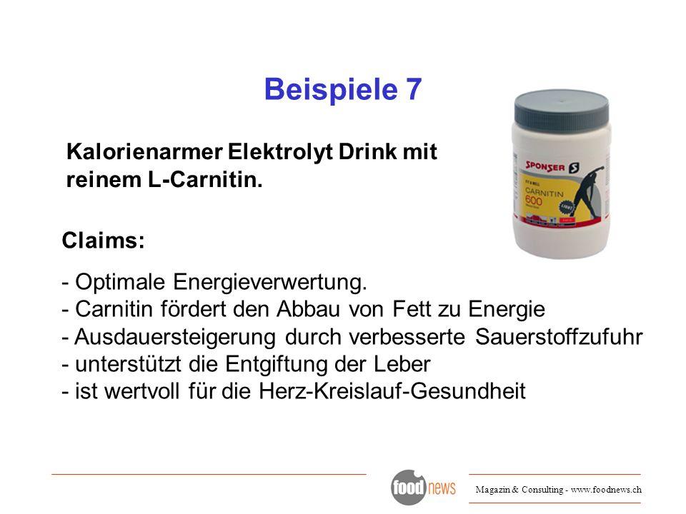 Beispiele 7 Kalorienarmer Elektrolyt Drink mit reinem L-Carnitin.