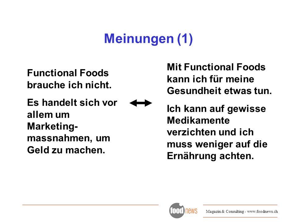 Meinungen (1) Mit Functional Foods kann ich für meine Gesundheit etwas tun.