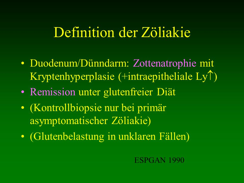 Definition der Zöliakie
