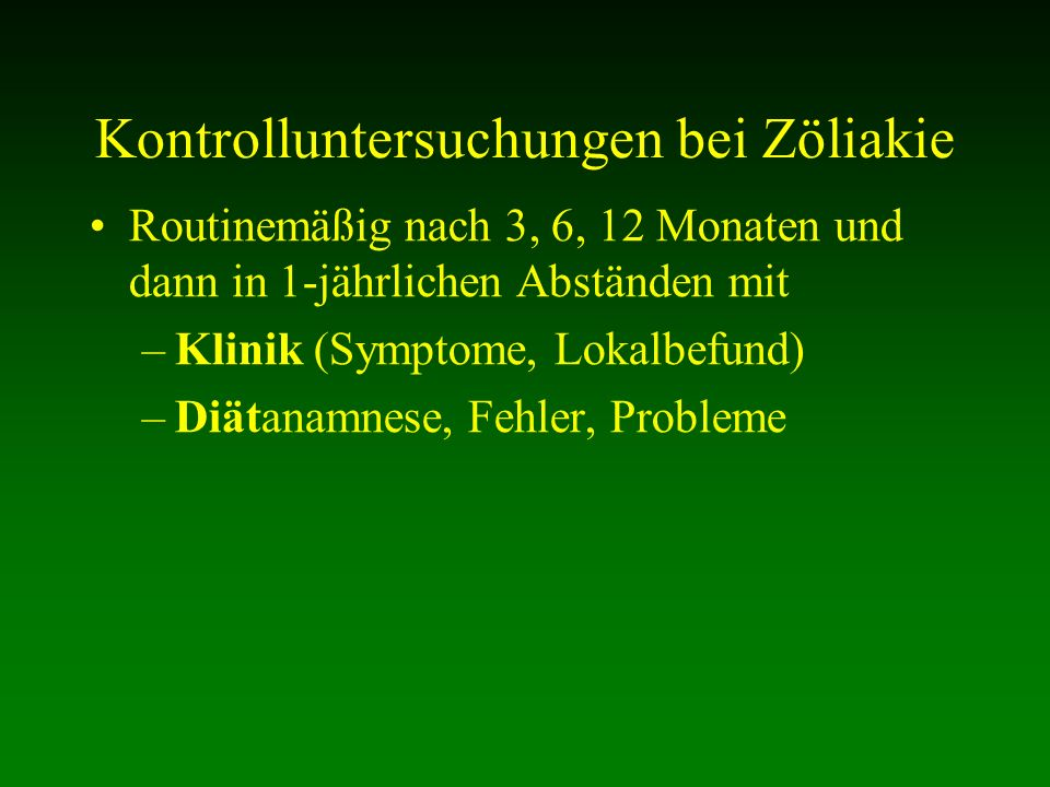Kontrolluntersuchungen bei Zöliakie