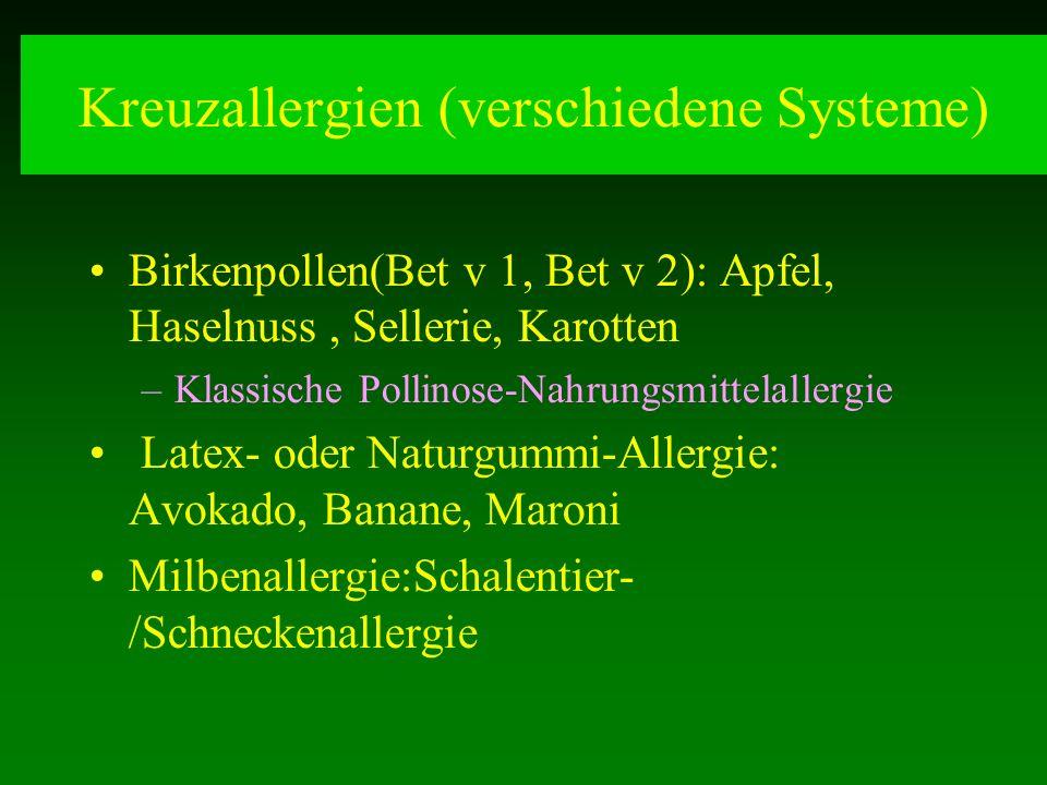 Kreuzallergien (verschiedene Systeme)