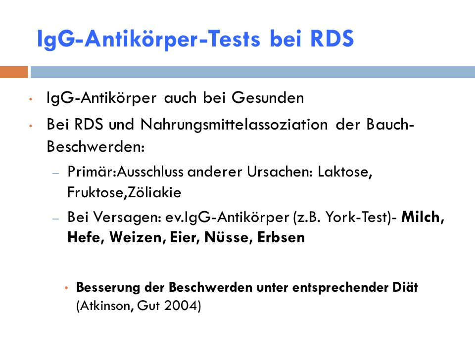 IgG-Antikörper-Tests bei RDS
