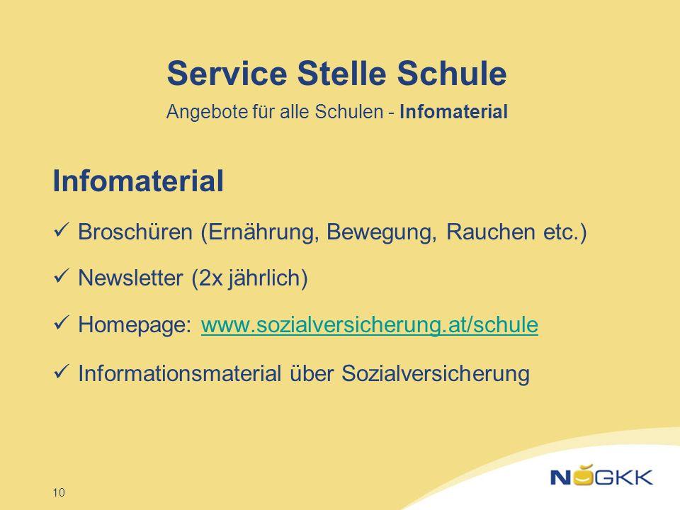 Service Stelle Schule Angebote für alle Schulen - Infomaterial