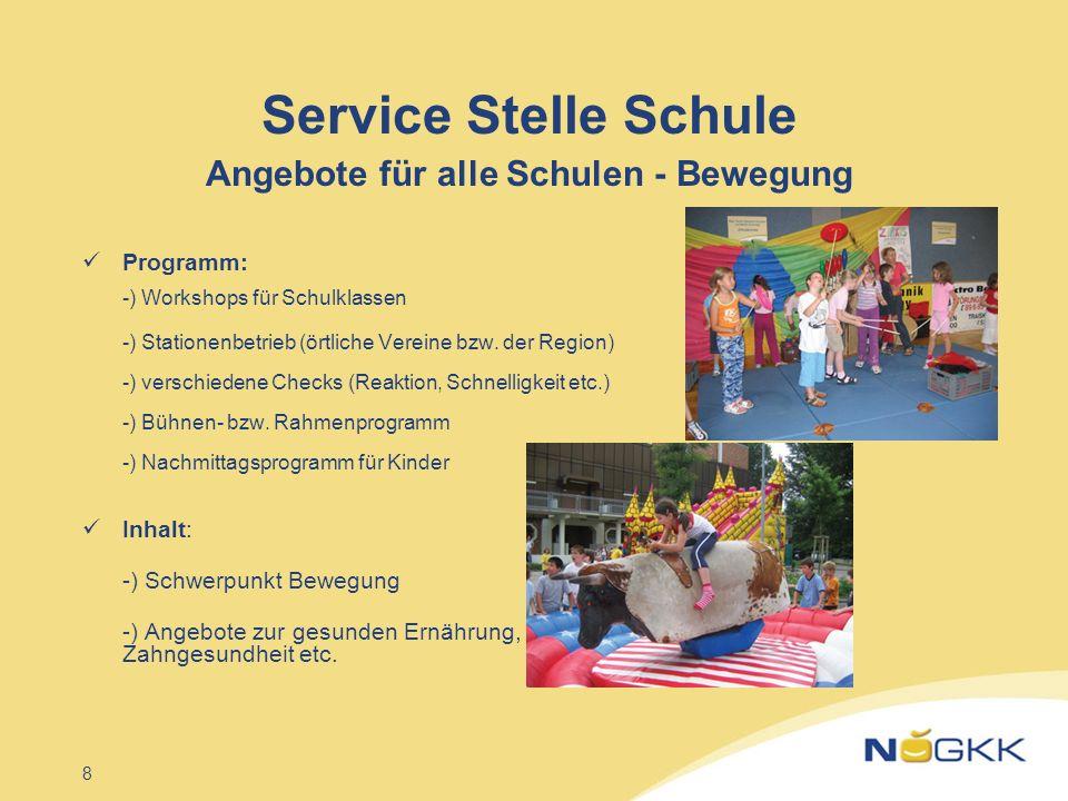Service Stelle Schule Angebote für alle Schulen - Bewegung