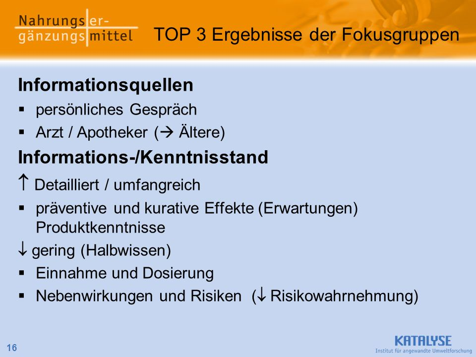 TOP 3 Ergebnisse der Fokusgruppen