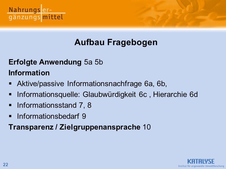Aufbau Fragebogen Erfolgte Anwendung 5a 5b Information