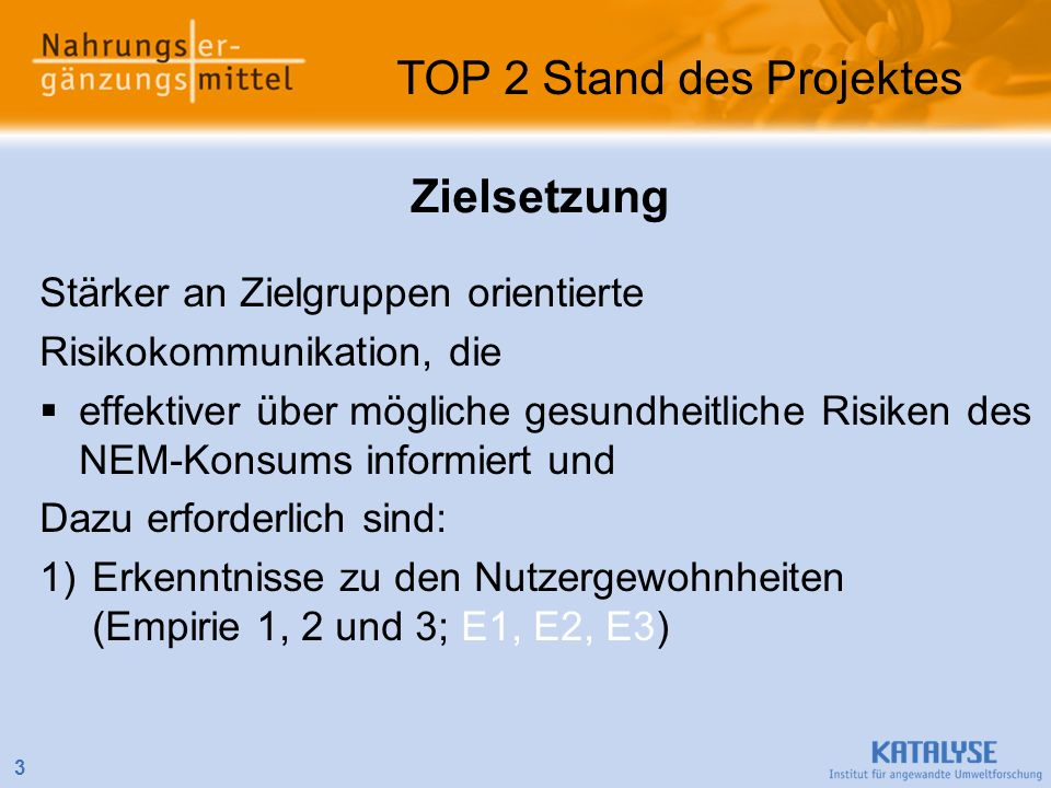 TOP 2 Stand des Projektes