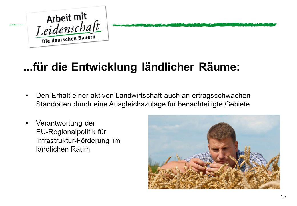 ...für die Entwicklung ländlicher Räume: