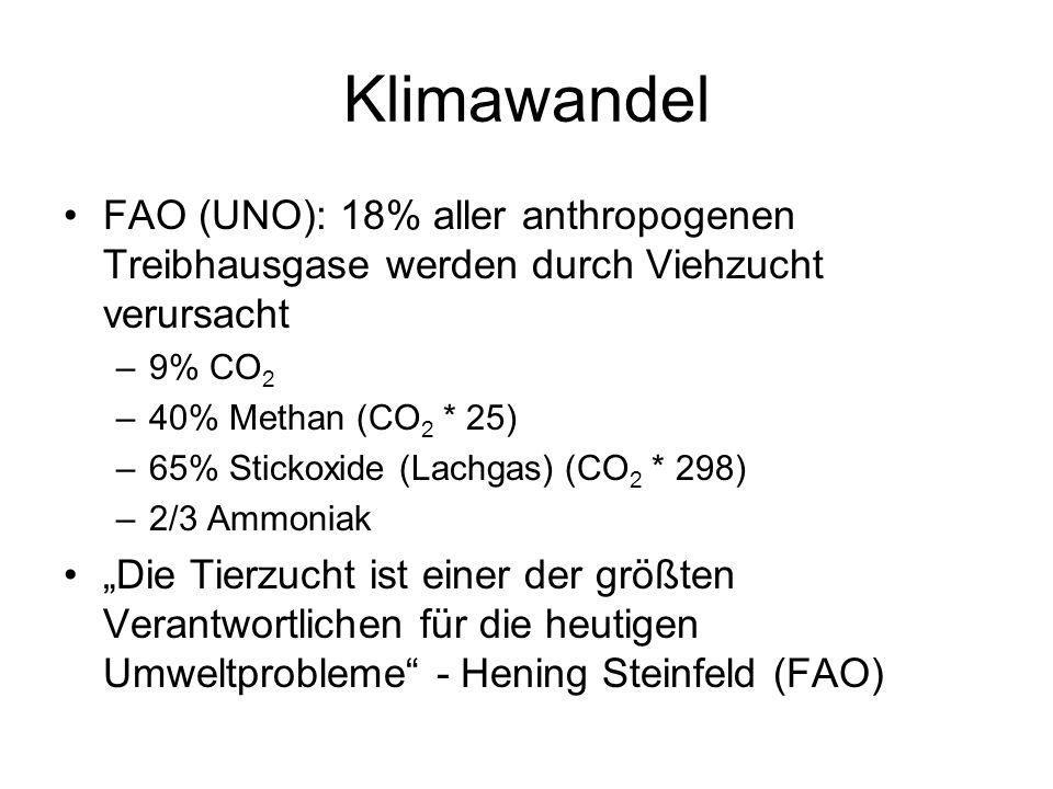 Klimawandel FAO (UNO): 18% aller anthropogenen Treibhausgase werden durch Viehzucht verursacht. 9% CO2.