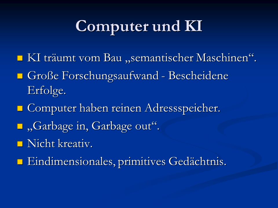"""Computer und KI KI träumt vom Bau """"semantischer Maschinen ."""