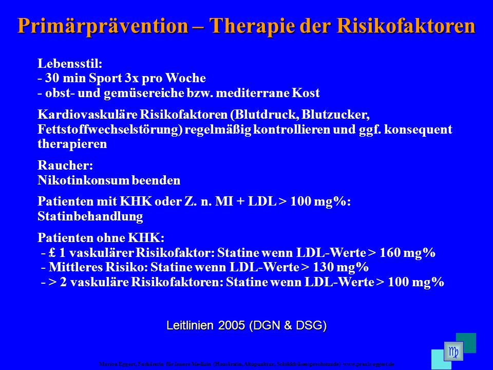 Primärprävention – Therapie der Risikofaktoren