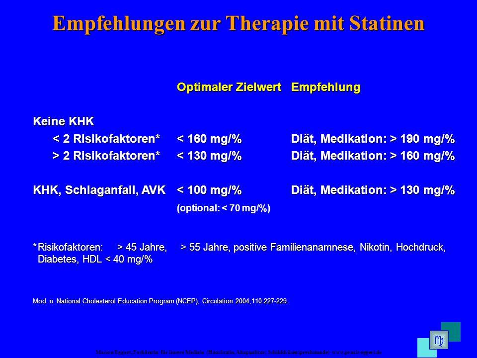Empfehlungen zur Therapie mit Statinen