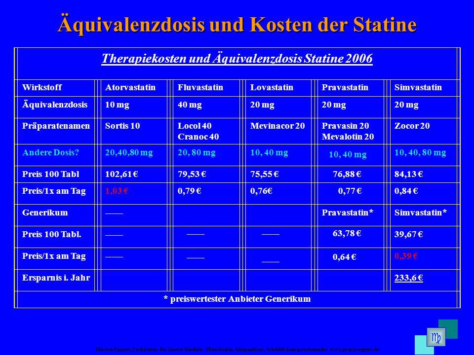 Äquivalenzdosis und Kosten der Statine