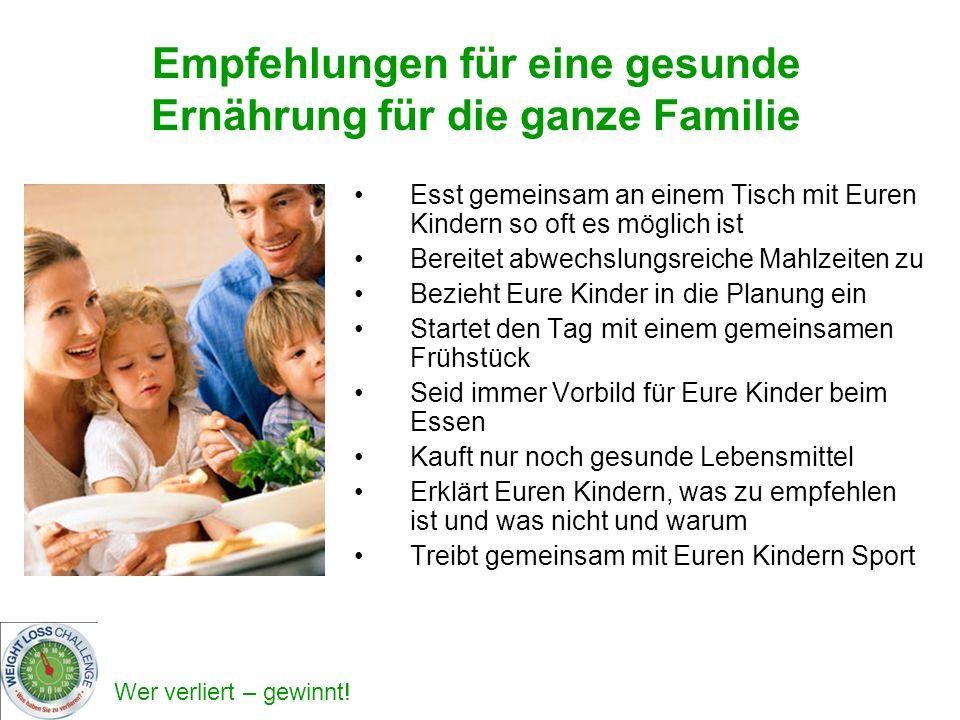 Empfehlungen für eine gesunde Ernährung für die ganze Familie