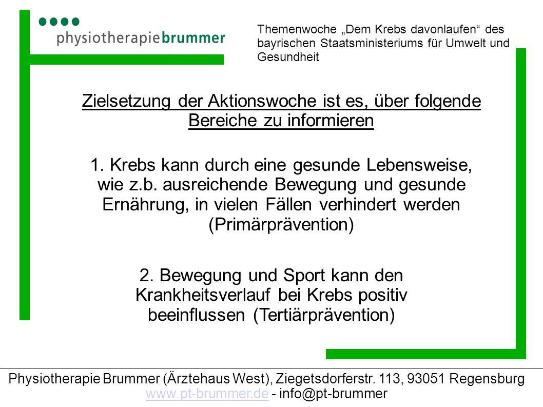 """Themenwoche """"Dem Krebs davonlaufen des bayrischen Staatsministeriums für Umwelt und Gesundheit"""