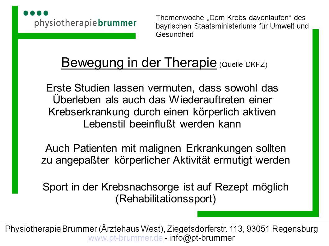 Bewegung in der Therapie (Quelle DKFZ)