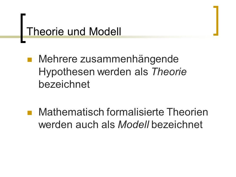 Theorie und Modell Mehrere zusammenhängende Hypothesen werden als Theorie bezeichnet.