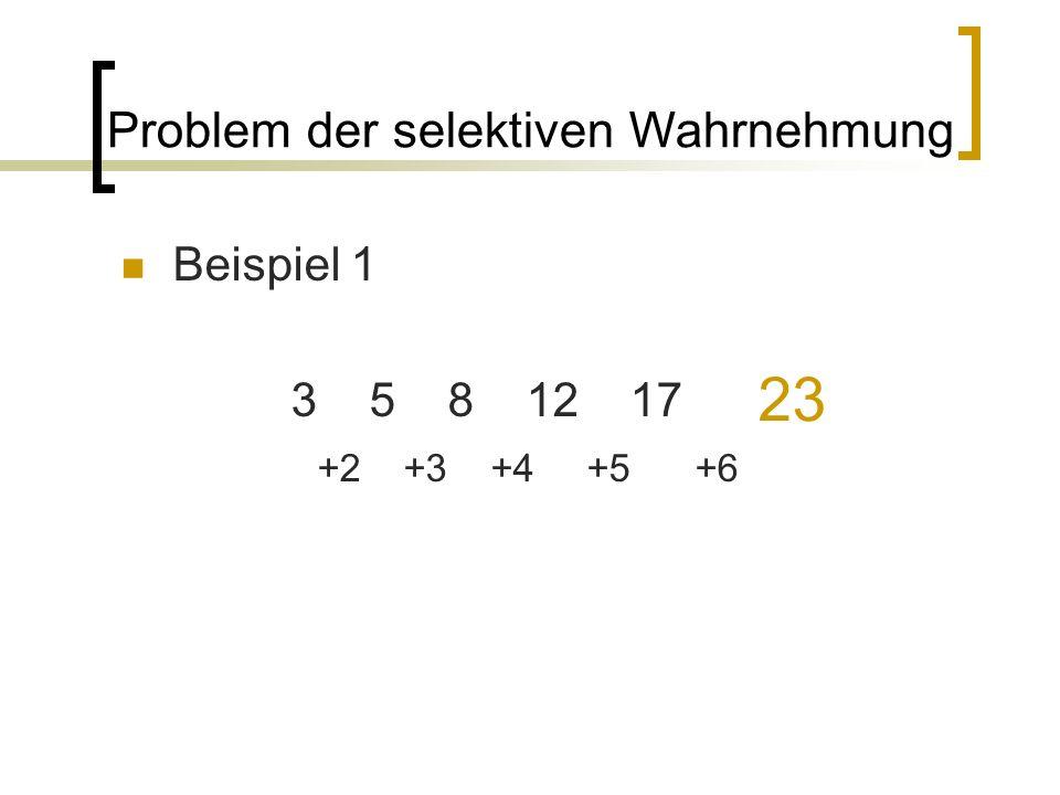 23 Problem der selektiven Wahrnehmung Beispiel 1 3 5 8 12 17