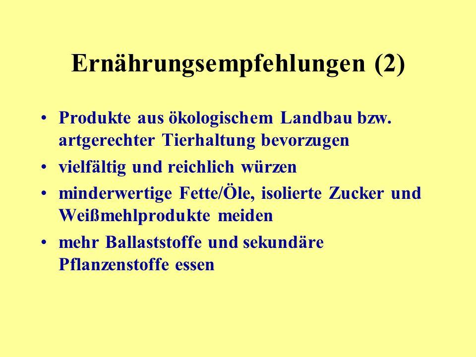 Ernährungsempfehlungen (2)