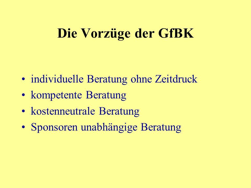 Die Vorzüge der GfBK individuelle Beratung ohne Zeitdruck