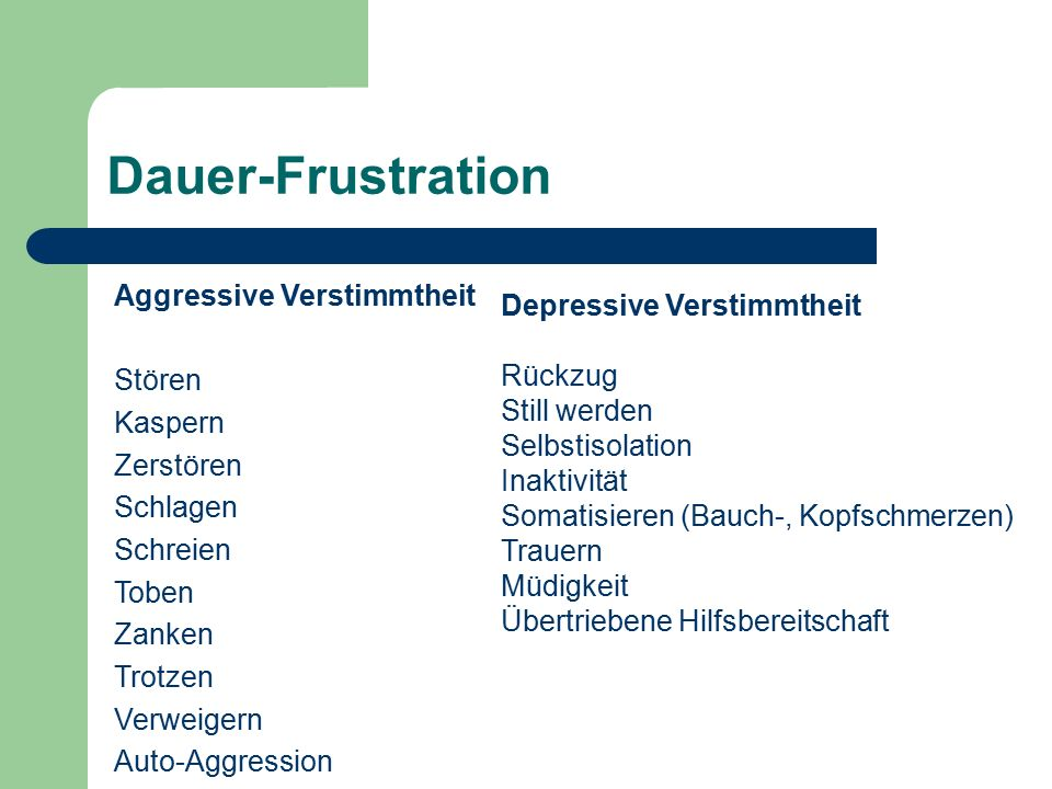 Dauer-Frustration Aggressive Verstimmtheit Depressive Verstimmtheit