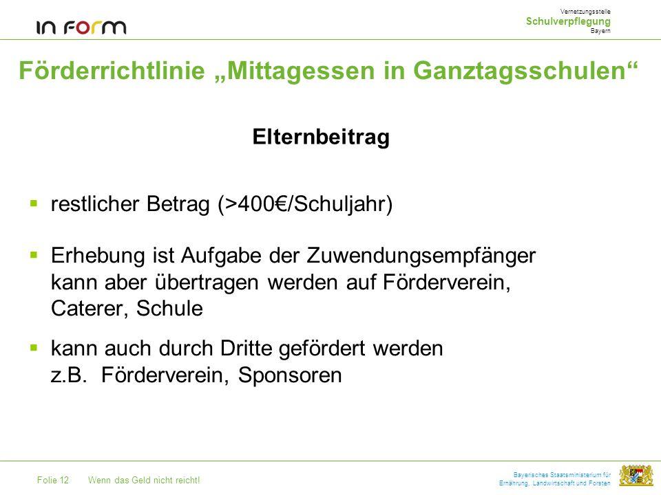 """Förderrichtlinie """"Mittagessen in Ganztagsschulen"""