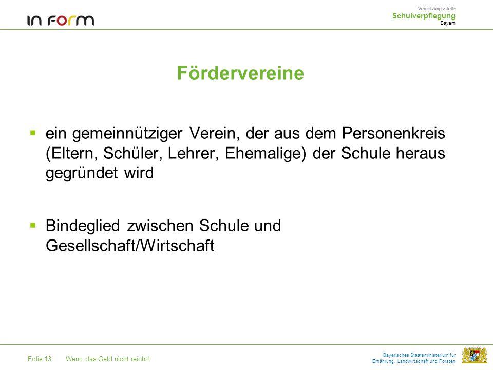 Vernetzungsstelle Schulverpflegung. Bayern. Fördervereine.