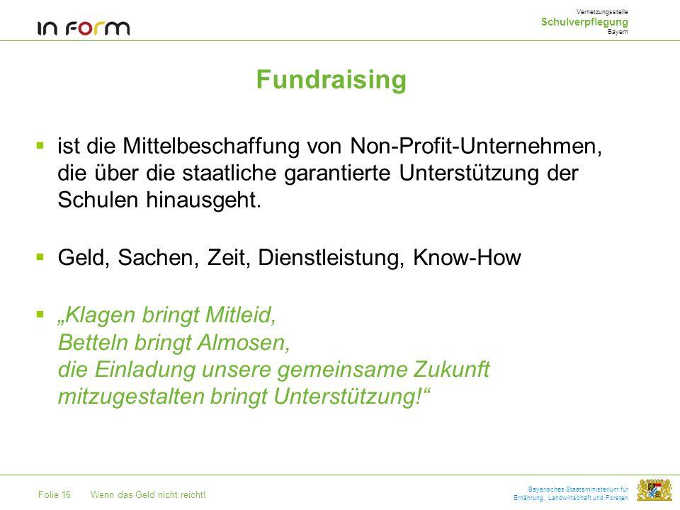 Vernetzungsstelle Schulverpflegung. Bayern. Fundraising.