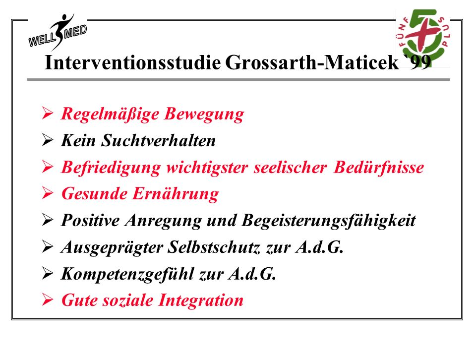 Interventionsstudie Grossarth-Maticek `99