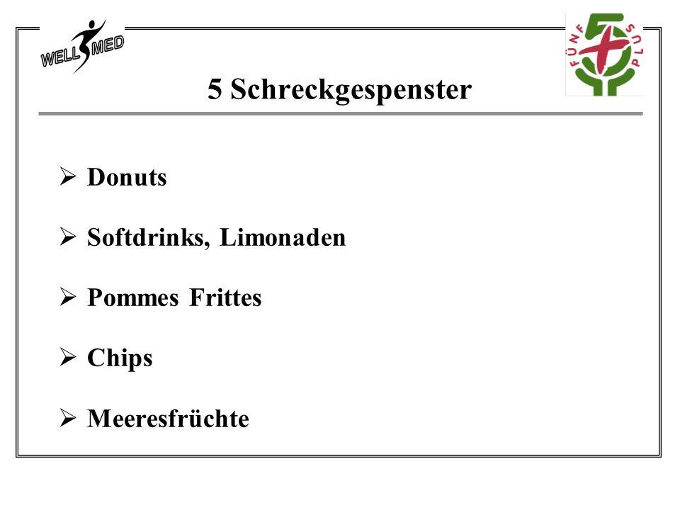 5 Schreckgespenster Donuts Softdrinks, Limonaden Pommes Frittes Chips
