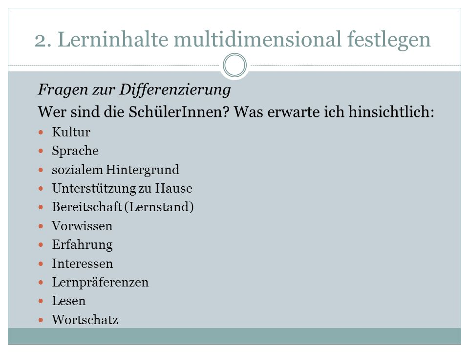 2. Lerninhalte multidimensional festlegen