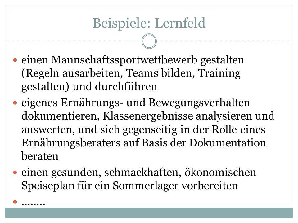 Beispiele: Lernfeld einen Mannschaftssportwettbewerb gestalten (Regeln ausarbeiten, Teams bilden, Training gestalten) und durchführen.