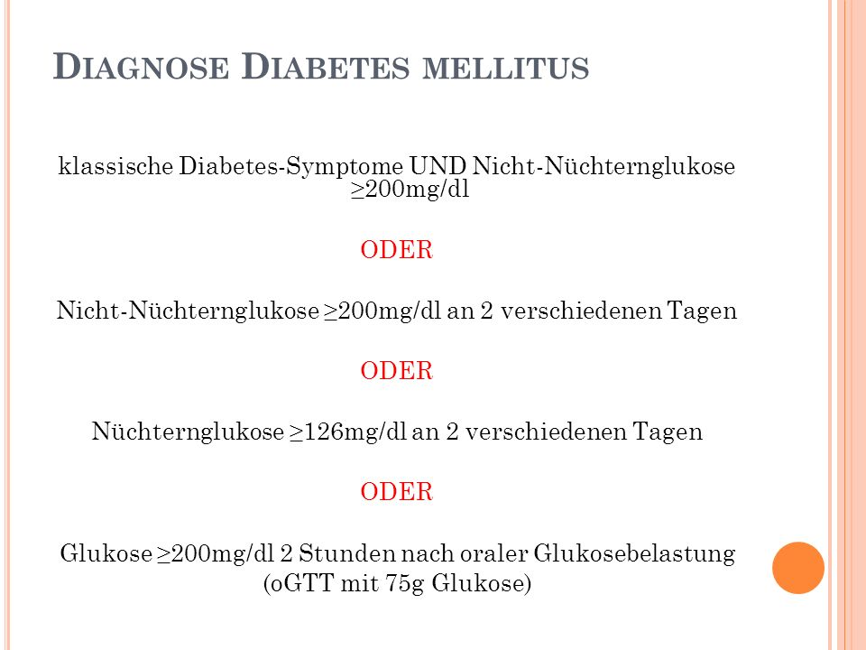 Diagnose Diabetes mellitus