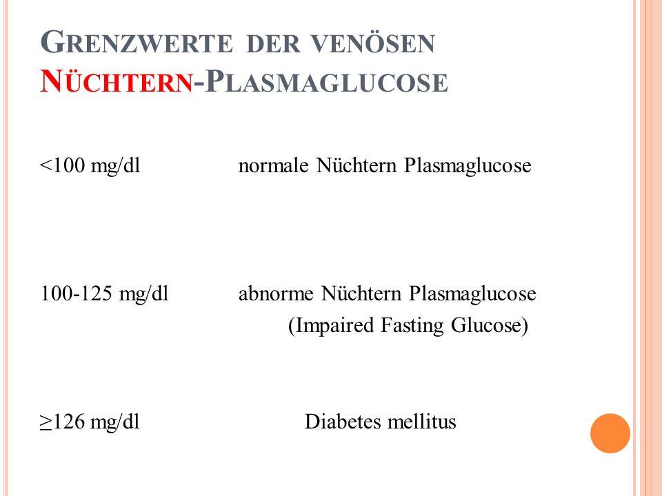 Grenzwerte der venösen Nüchtern-Plasmaglucose