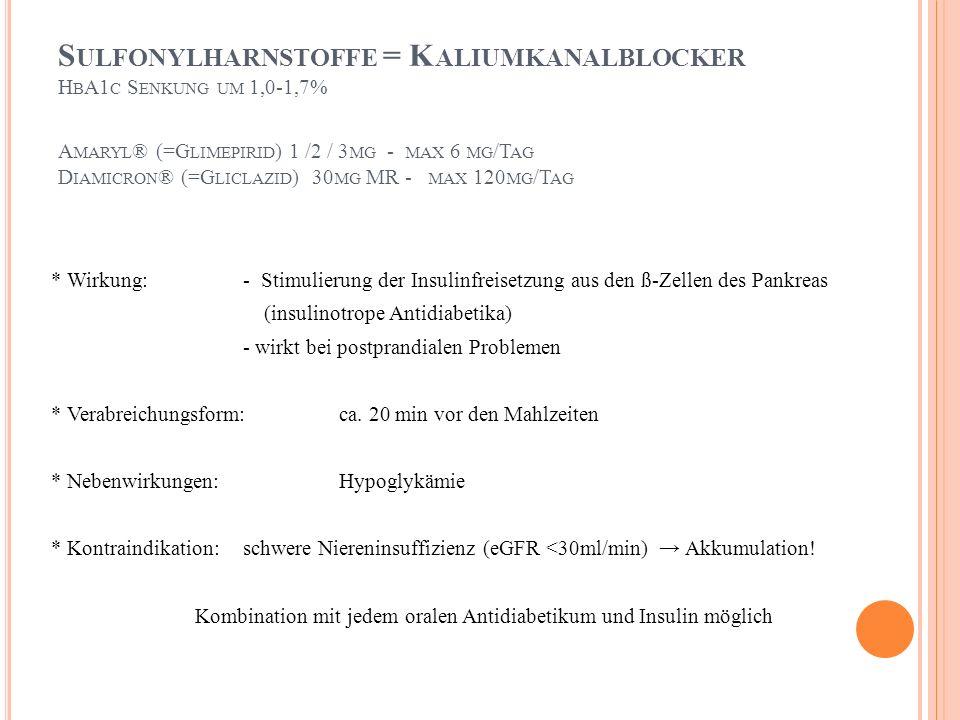 Sulfonylharnstoffe = Kaliumkanalblocker HbA1c Senkung um 1,0-1,7% Amaryl® (=Glimepirid) 1 /2 / 3mg - max 6 mg/Tag Diamicron® (=Gliclazid) 30mg MR - max 120mg/Tag