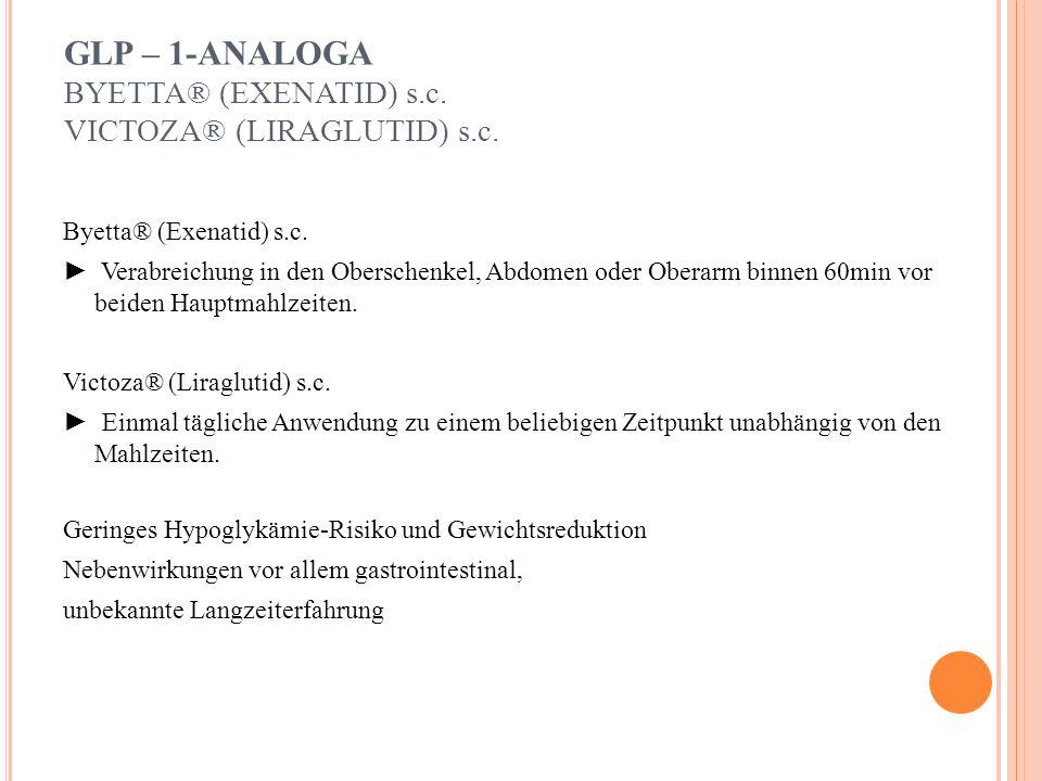 GLP – 1-ANALOGA BYETTA® (EXENATID) s.c. VICTOZA® (LIRAGLUTID) s.c.