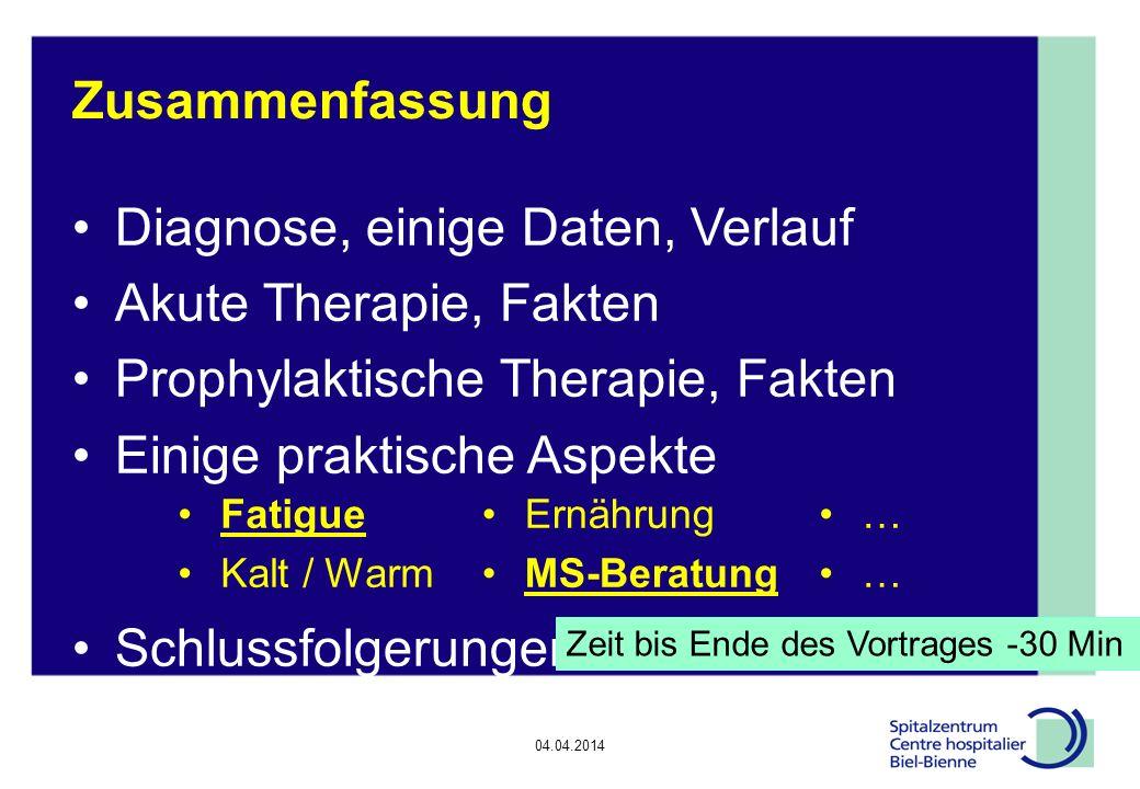 Diagnose, einige Daten, Verlauf Akute Therapie, Fakten