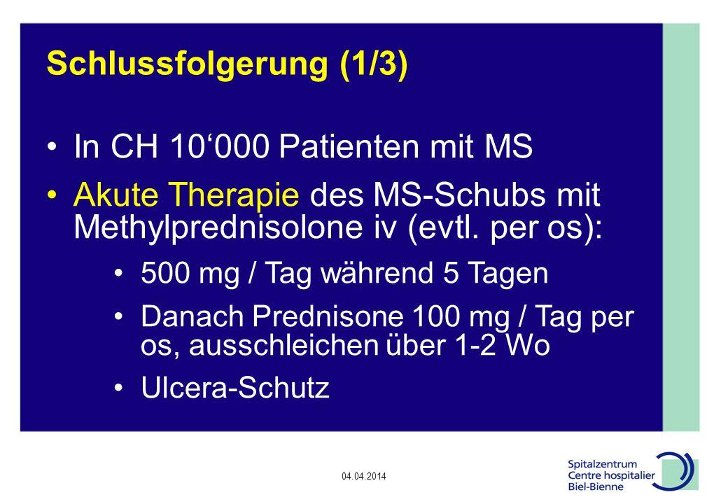 Akute Therapie des MS-Schubs mit Methylprednisolone iv (evtl. per os):