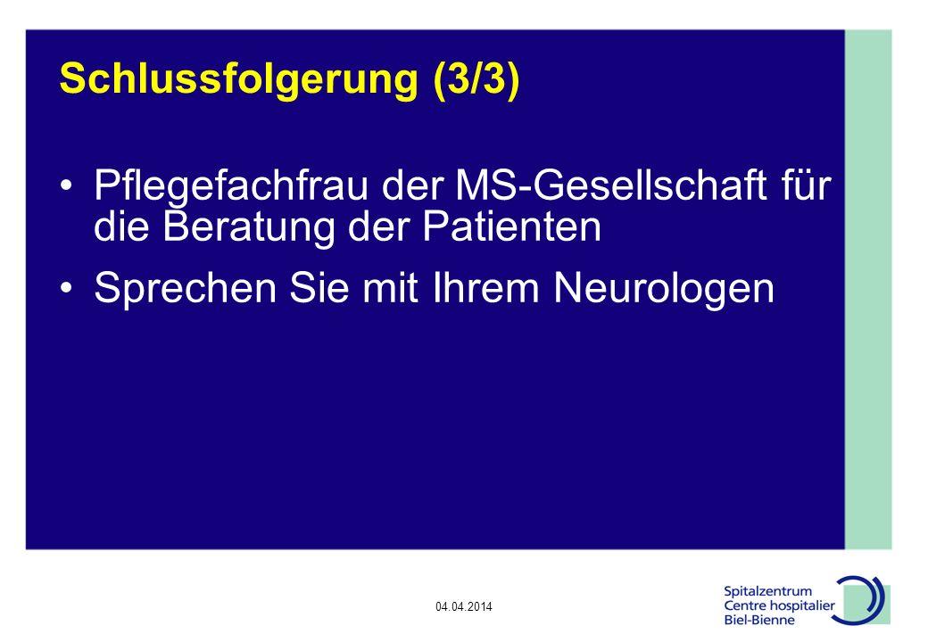 Pflegefachfrau der MS-Gesellschaft für die Beratung der Patienten