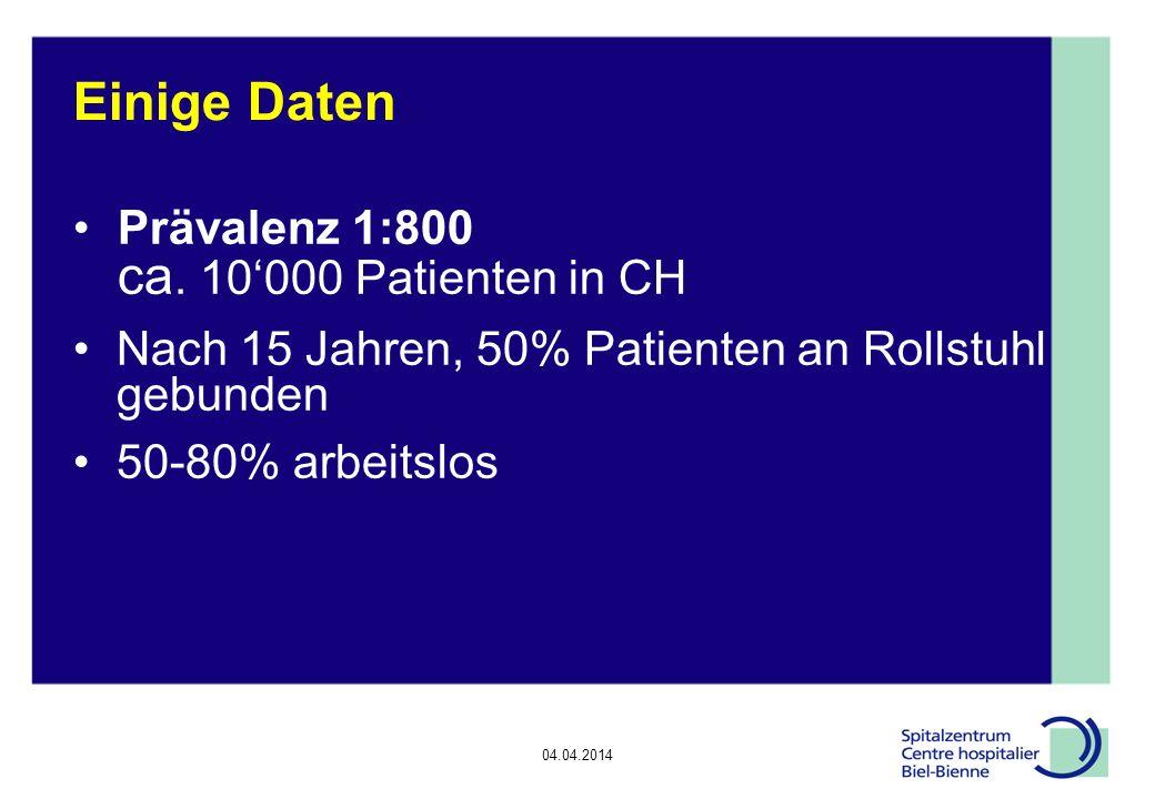 Einige Daten Prävalenz 1:800 ca. 10'000 Patienten in CH