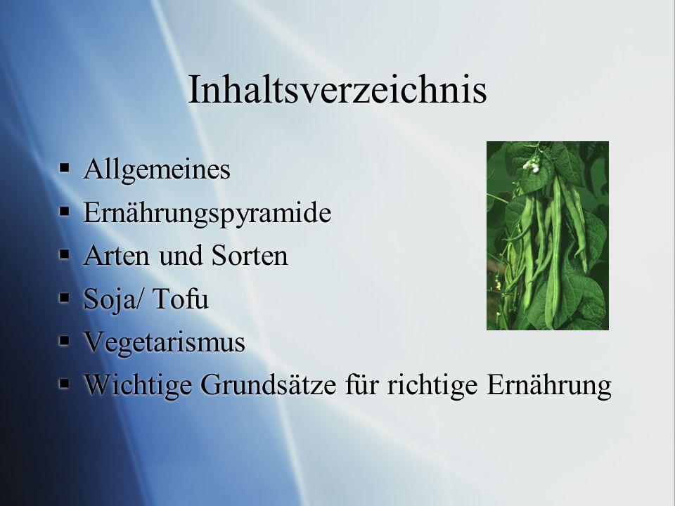 Inhaltsverzeichnis Allgemeines Ernährungspyramide Arten und Sorten