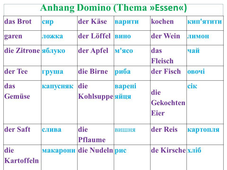 Anhang Domino (Thema »Essen«)