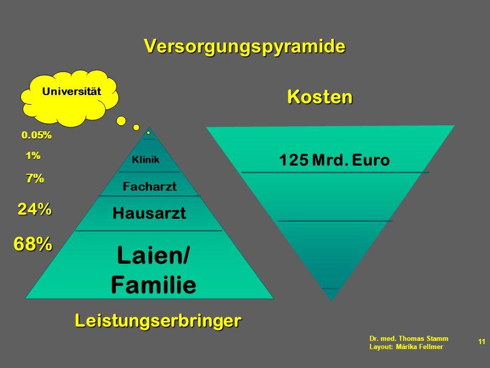 Laien/ Familie Versorgungspyramide Kosten 68% Leistungserbringer