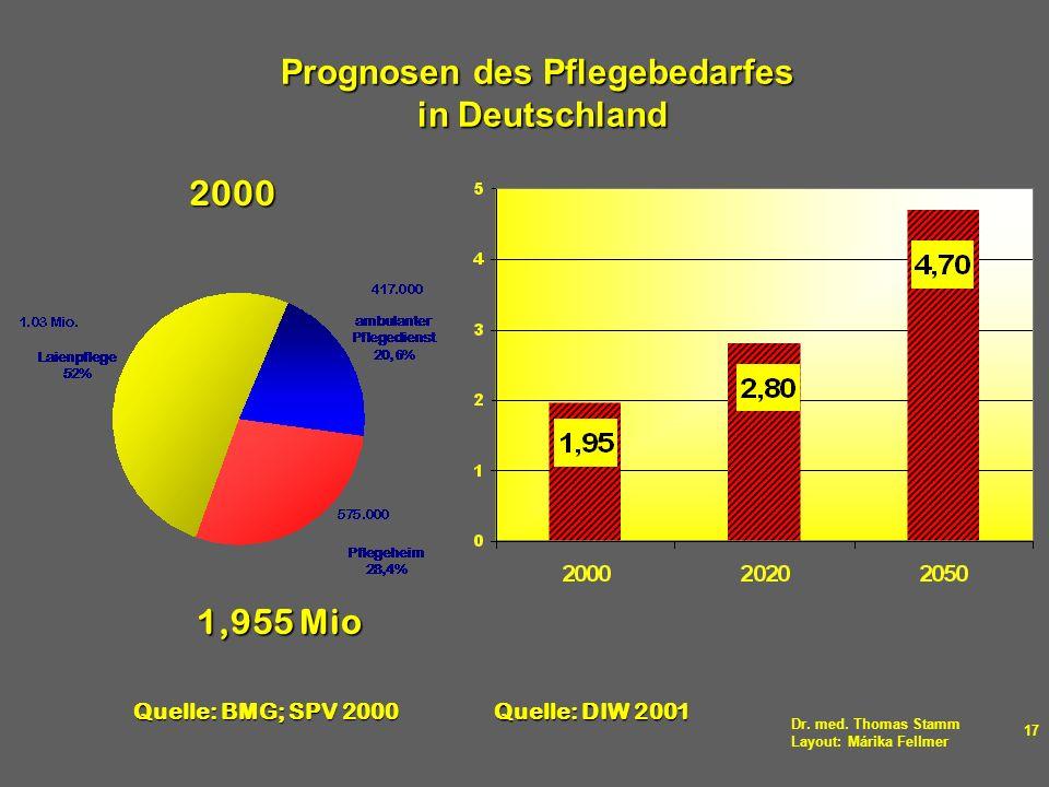 Prognosen des Pflegebedarfes in Deutschland